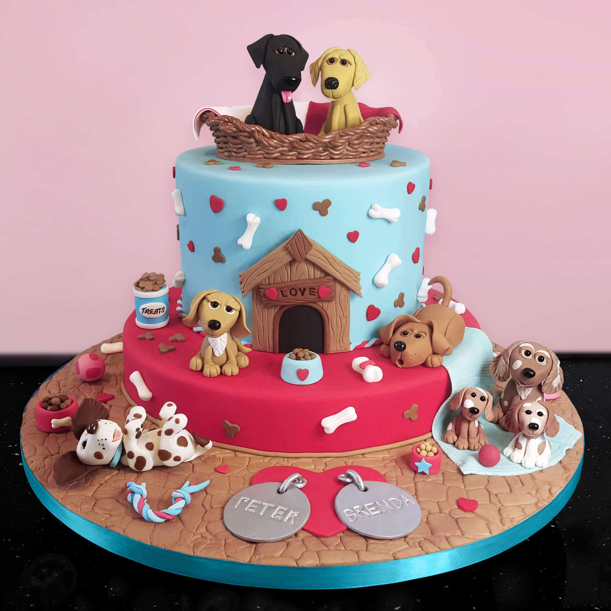 Doggie design cake made for a ruby wedding anniversary by Cake No Mistake