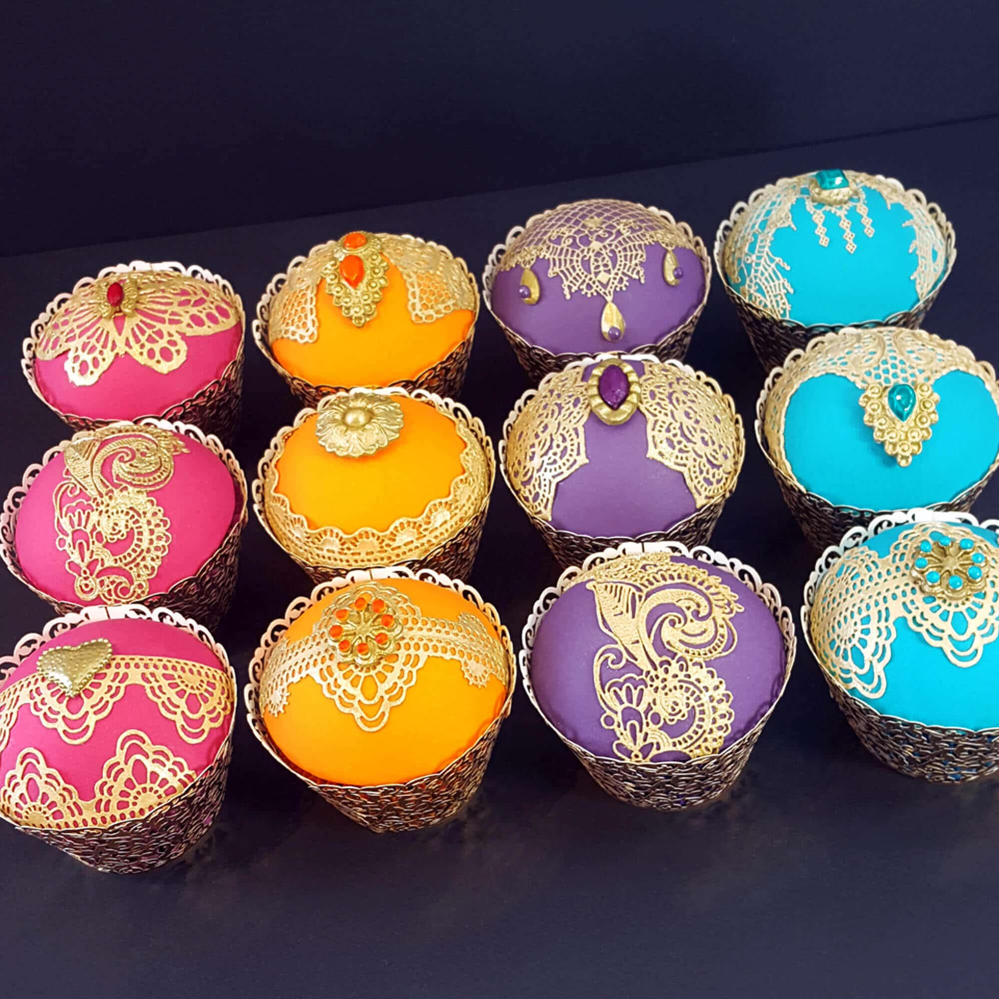Bollywood themed cupcakes designed & created by Cake No Mistake