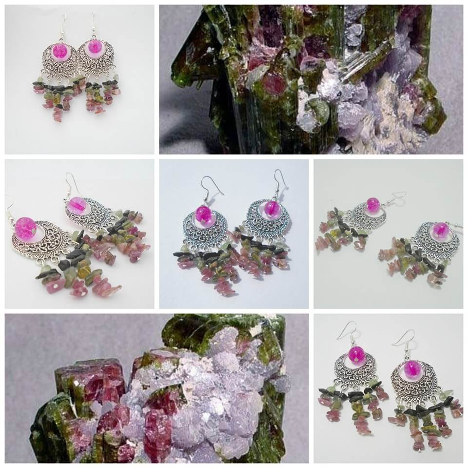 A photo showing a beautiful pair of earrings featuring an eyecatching pink gem designed by K8tieSparkles.