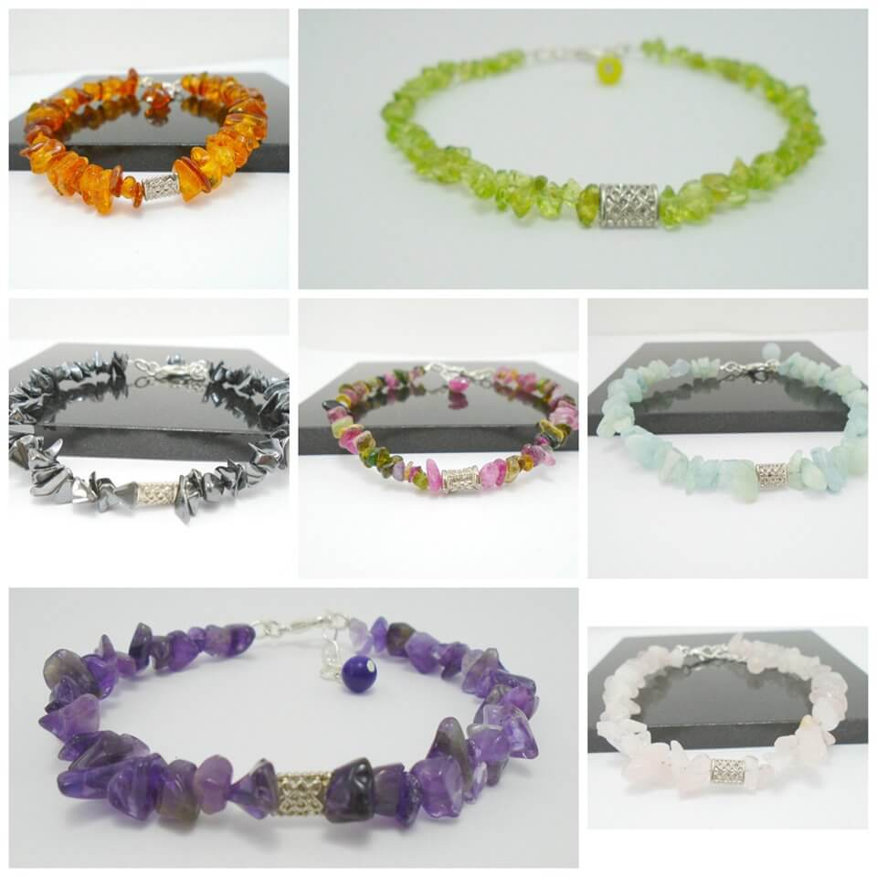 Several different gemstone bracelets designed and created by K8tieSparkles.