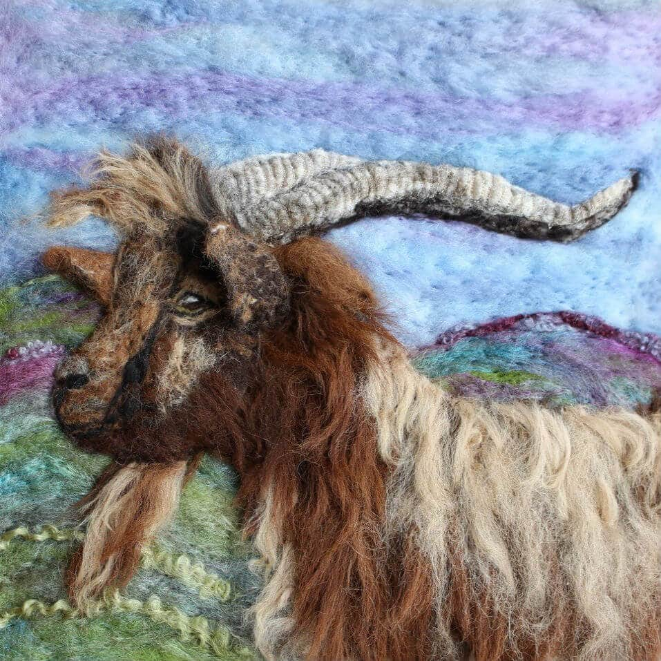 A lovely handmade felt portrait of a goat made by one of our Crafter in the Spotlights, Ullswater Felt Art.