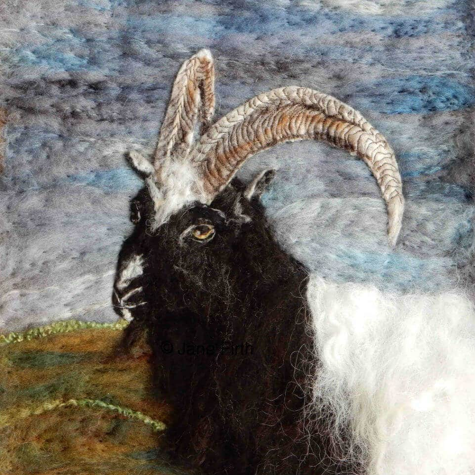 A portrait of a goat made by one of our Crafter in the Spotlights, Ullswater Felt Art.
