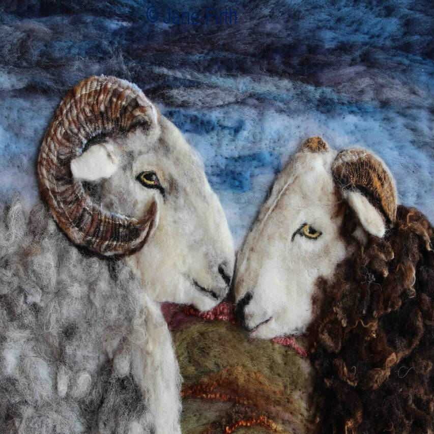 A felt portrait of a pair of sheep made by one of our Crafter in the Spotlight participants, Ullswater Felt Art.
