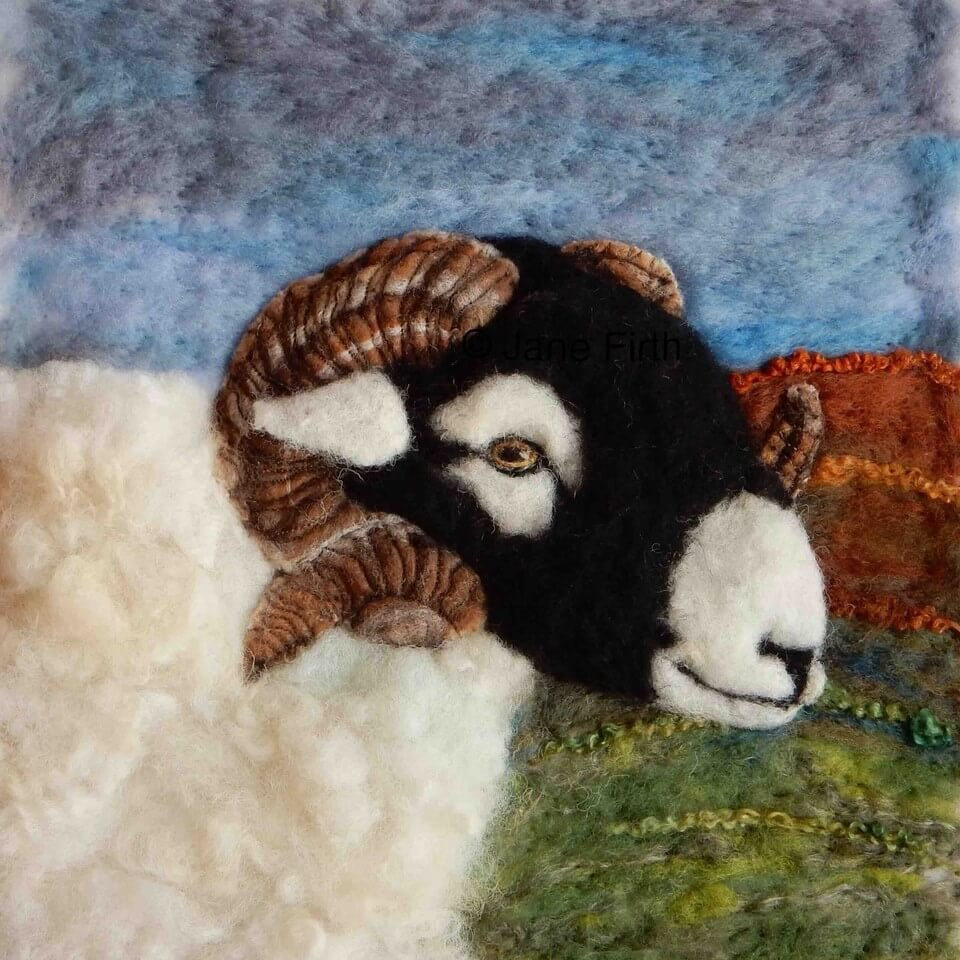 A beautiful felt portrait of a sheep made by one of our Crafter in the Spotlight participants, Ullswater Felt Art.