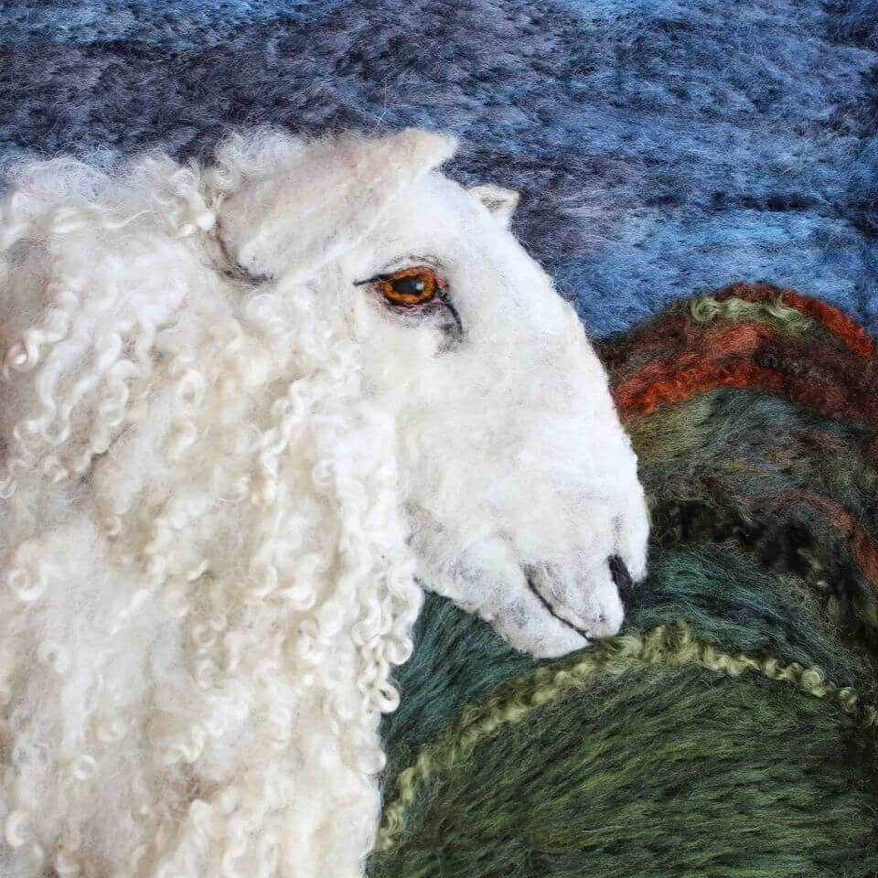 Felt art portrait of a sheep by our Crafter in the Spotlight participant, Ullswater Felt Art.