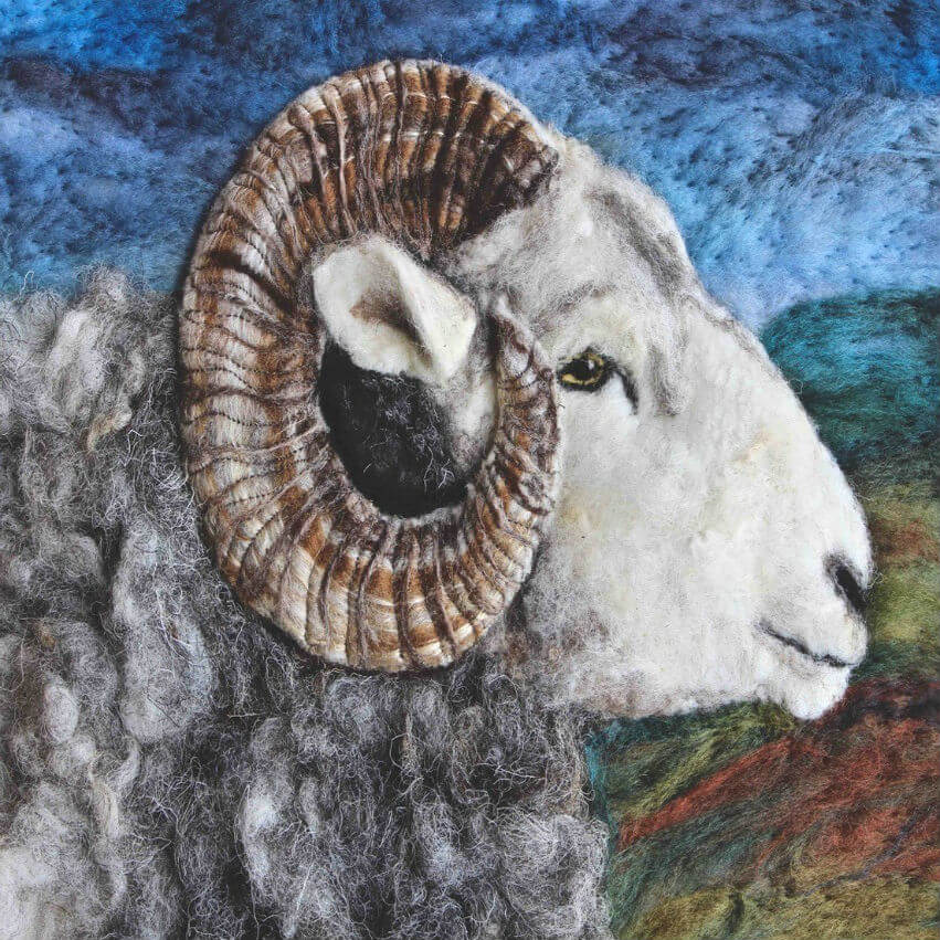 Felt art portrait of a sheep by Ullswater Felt Art.