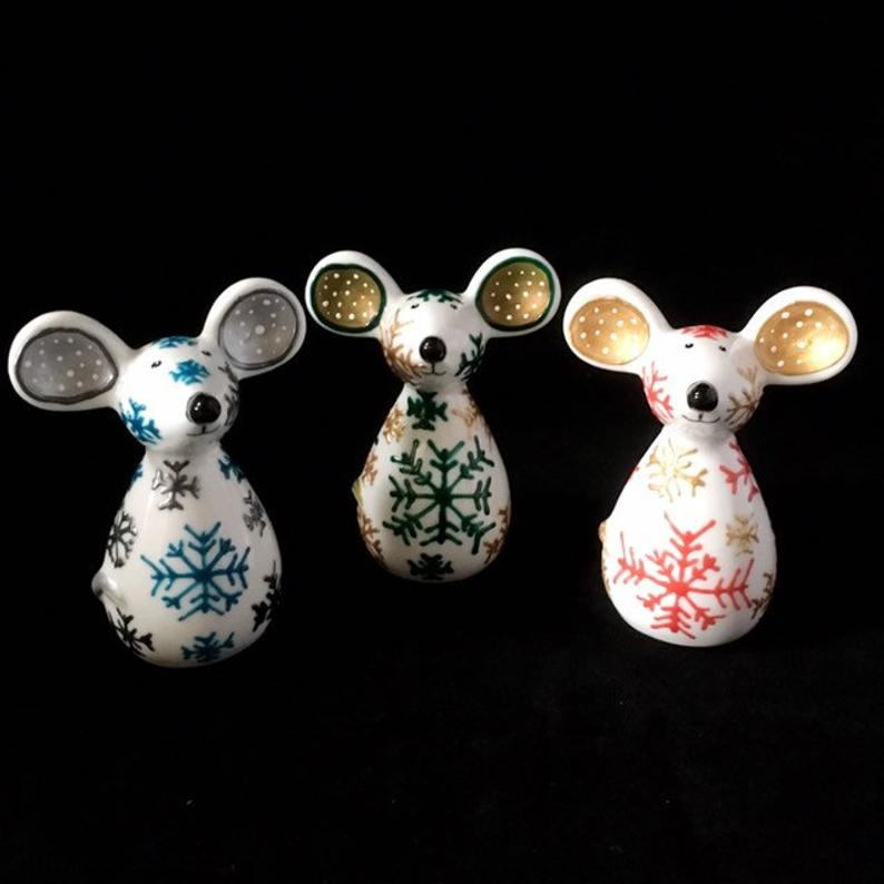 Three cute ceramic mice designed and made by Hazlehurst Ceramics.