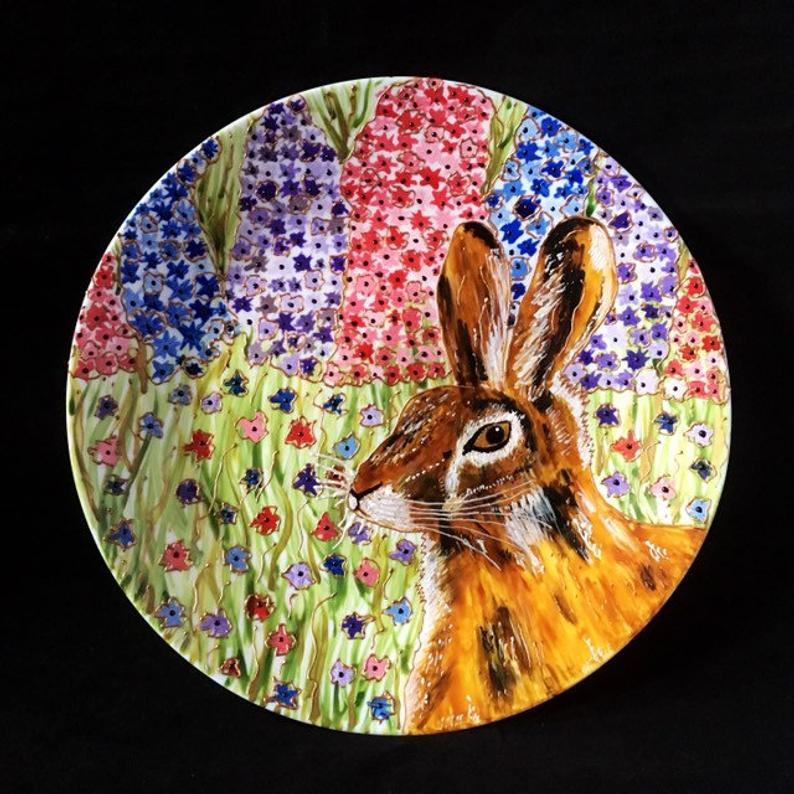 Rabbit design plate made by artist Hazlehurst Ceramics.