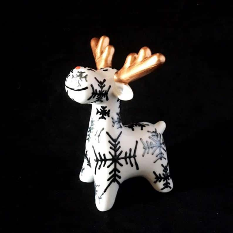 Festive ceramic reindeer made by Hazlehurst Ceramics.