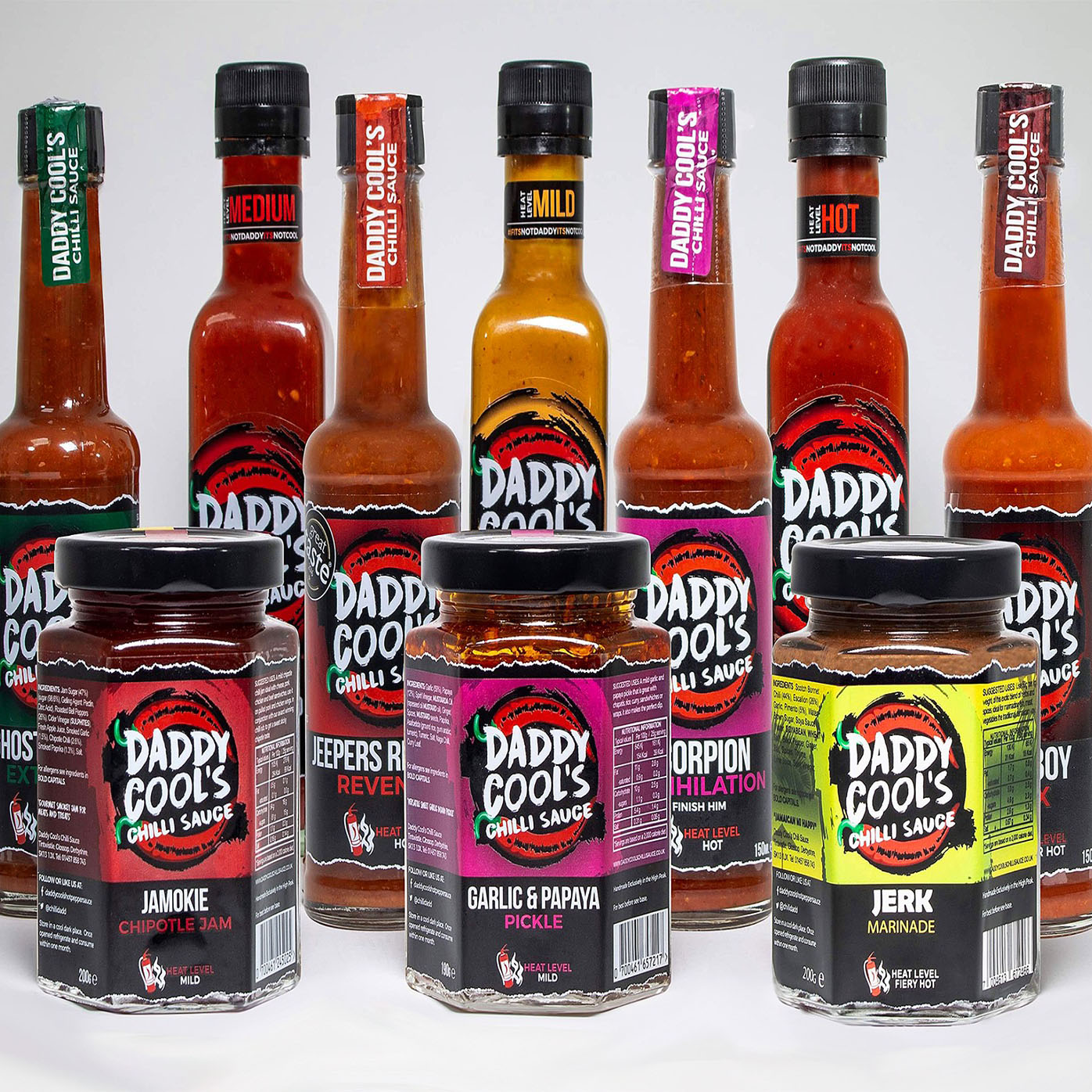 Selection of Daddy Cool's products including chilli sauces and relishes.