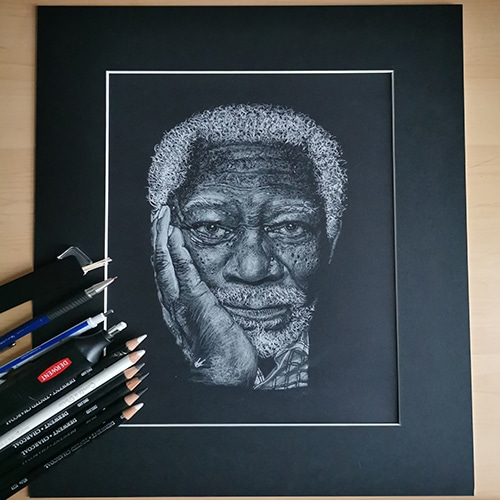Morgan Freeman captured in a portrait sketch by KGee Art.