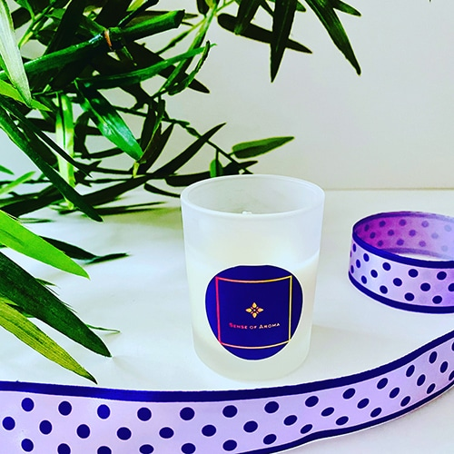 One of Sense of Aroma's luxury candles made from eco soy wax.