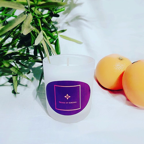 Orange, clove and cedar leaf candle which was handmade by our Crafter in the Spotlight Sense of Aroma.