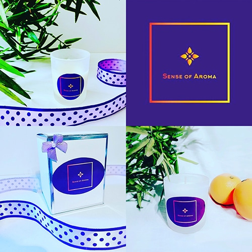 A collage of candles made by Sense of Aroma and the brand logo.