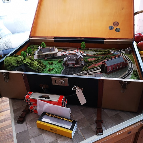 A set up vintage Suitcase Train handmade by our Crafter in the Spotlight.