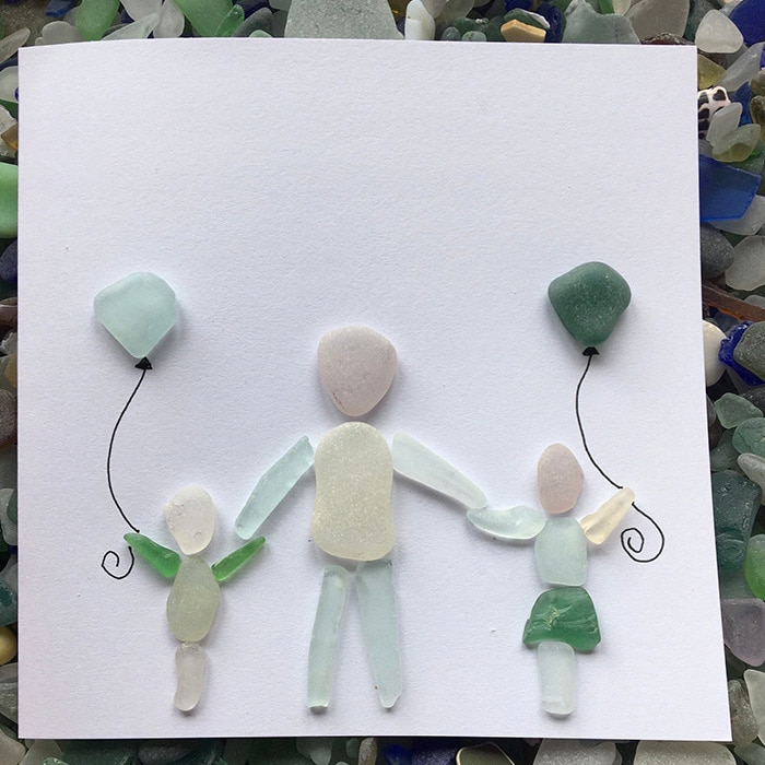 family greeting card sea glass