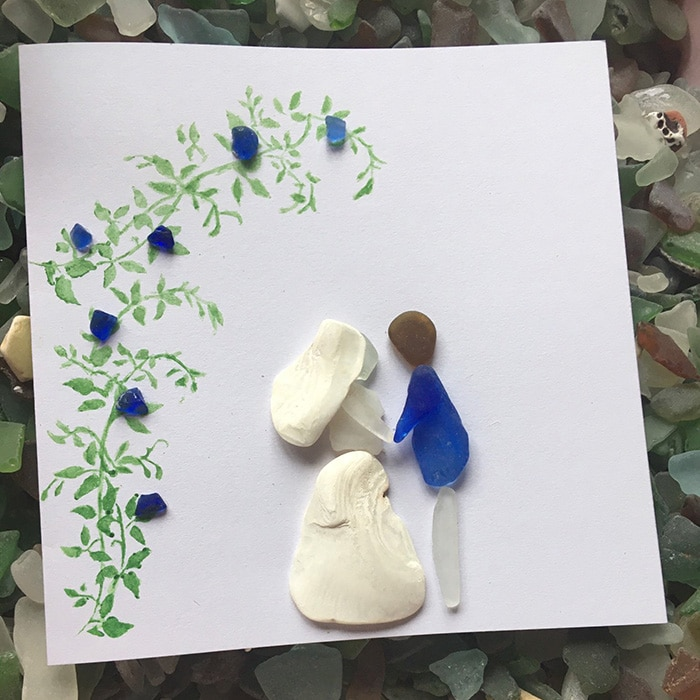 sea glass crafting marraige greeting card