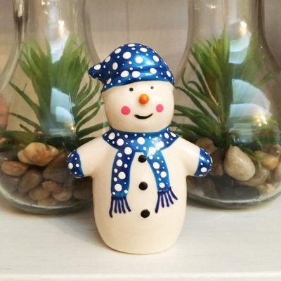 Festive ceramic snowman made by one of our Crafter in the Sotlights Hazlehurst Ceramics.
