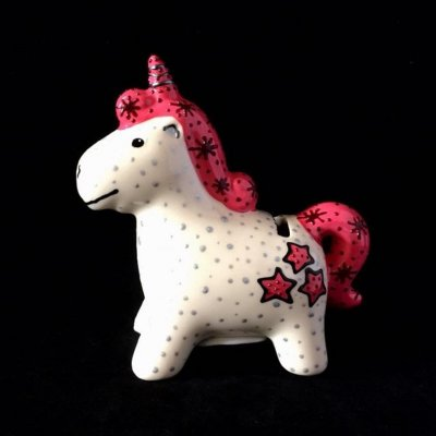 Ceramic unicorn piece made by our Crafter in the Spotlight Hazlehurst Ceramics.