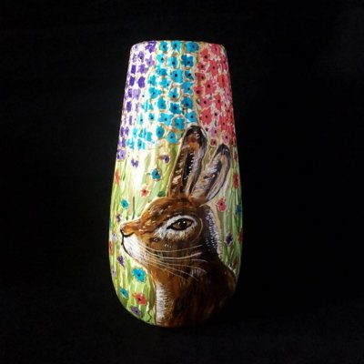 Rabbit decorated ceramic vase by our Crafter in the Spotlight Hazlehurst Ceramics.